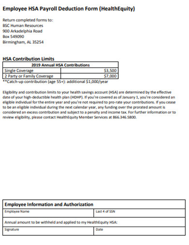 simple employee hsa payroll deduction form example