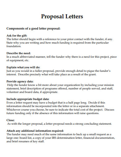 Proposal Letter Examples - 50+ Samples in PDF, Doc | Examples