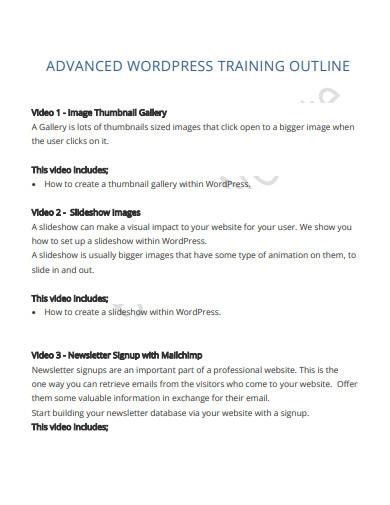 simple training course outline