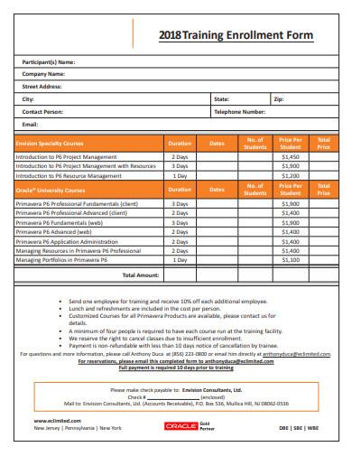 simple training enrollment form