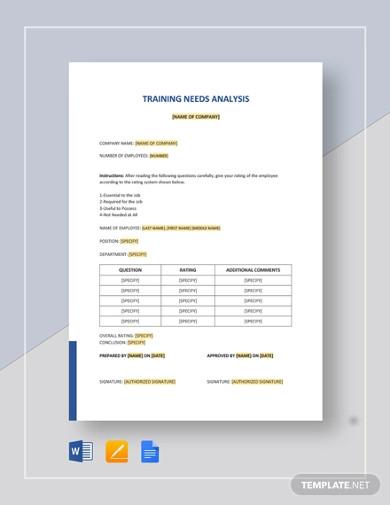 simple training needs analysis template