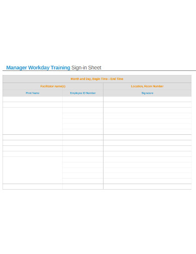 simple training sign in sheet example