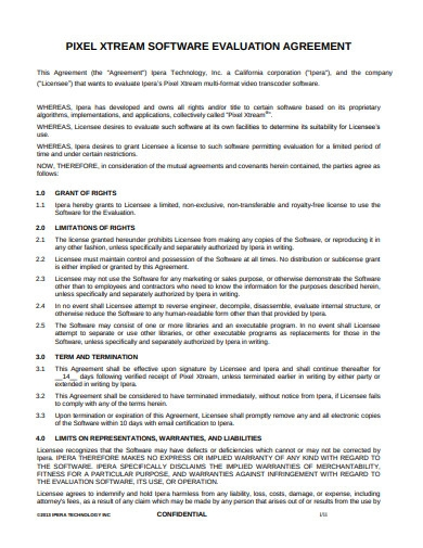 software evaluation agreement example