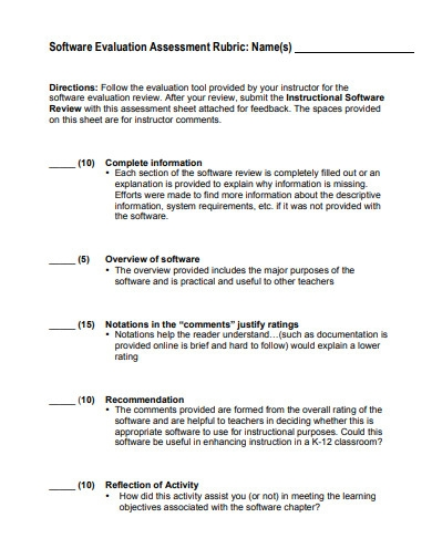 software evaluation assessment