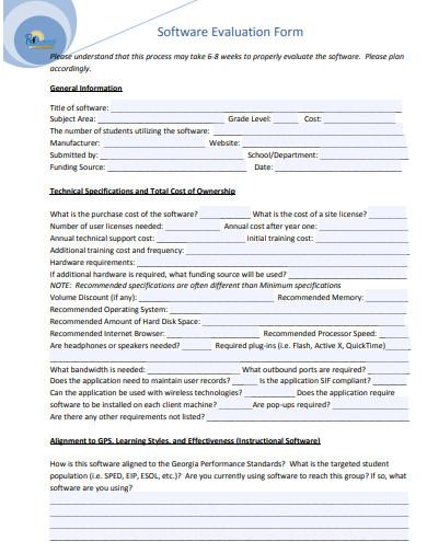 software evaluation form