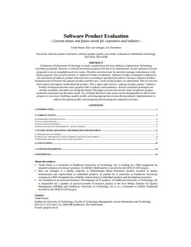software product evaluation