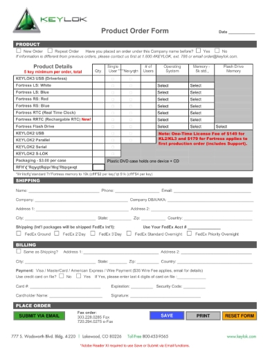software security product order form