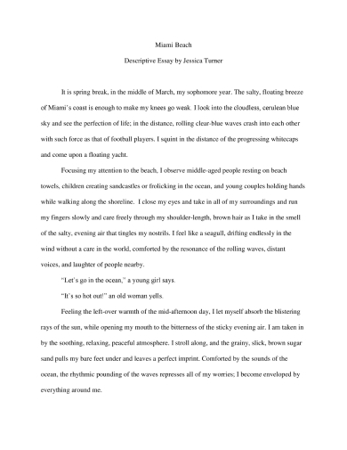 spring break descriptive essay examples