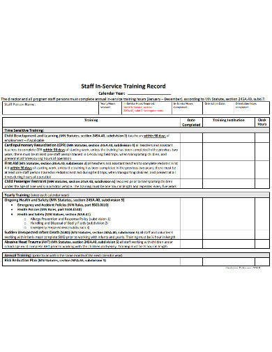 staff in service training record example