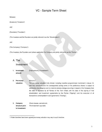 standard term sheet