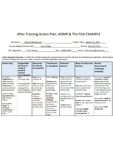 standard training action plan example