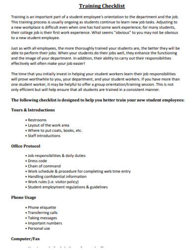 standard training checklist example