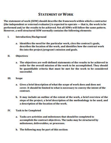 statement of work in pdf