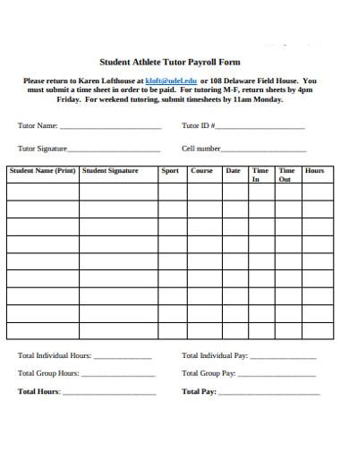 student athlete tutor payroll form