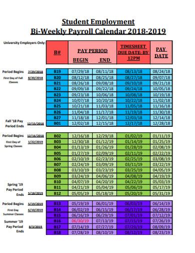 student employment bi weekly payroll calendars