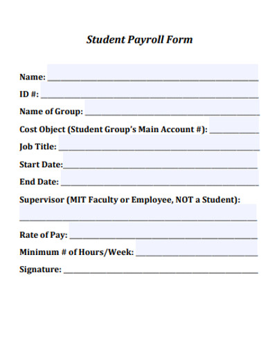 student payroll form example