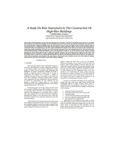 study on risk assessment construction in pdf