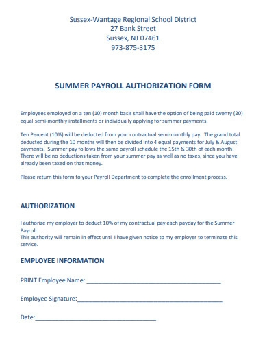 summer payroll authorization form