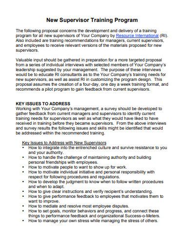 supervisor training proposal