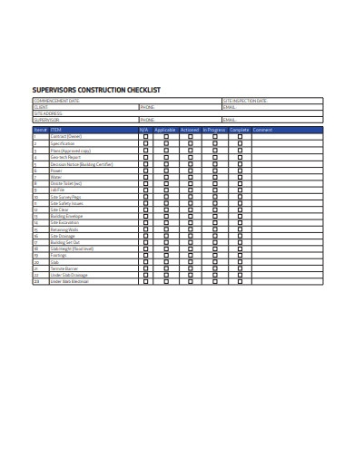 supervisors construction checklist