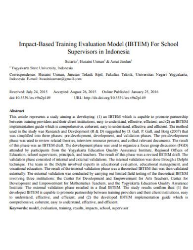 supervisors training evaluation