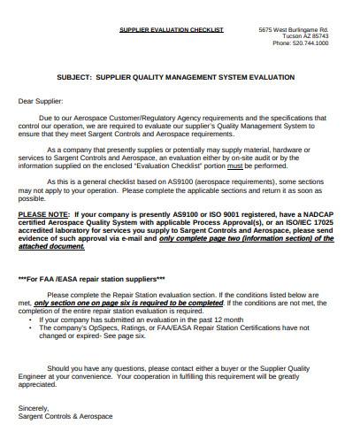 supplier evaluation checklist