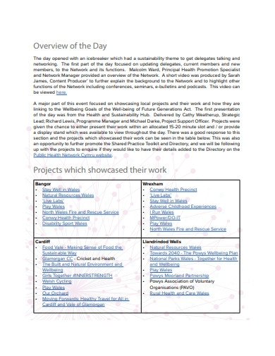sustainability evaluation summary report