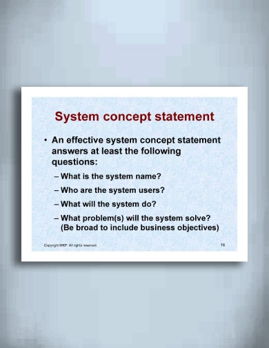 system and product concept statement