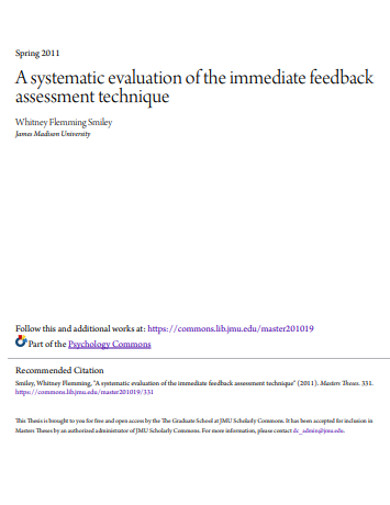 systematic evaluation feedback