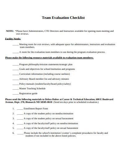 team evaluation checklist example