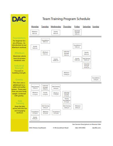 team training program schedule