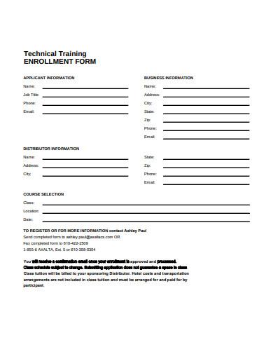 technical training enrollment form