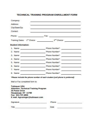 technical training program enrollment form