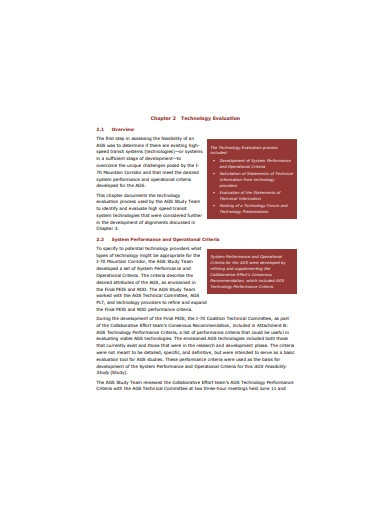 technology evaluation overview example