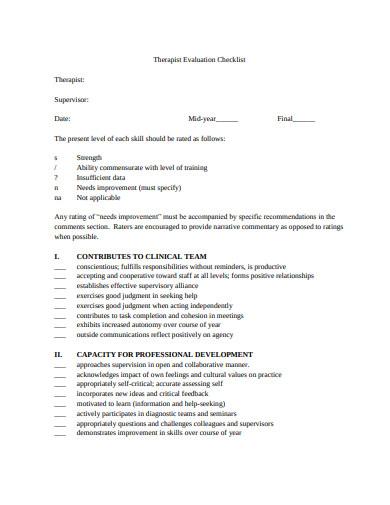 therapist evaluation checklist example