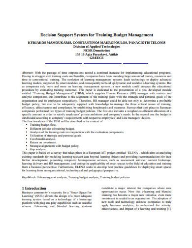 training budget management