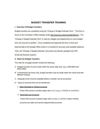 training budget transfer