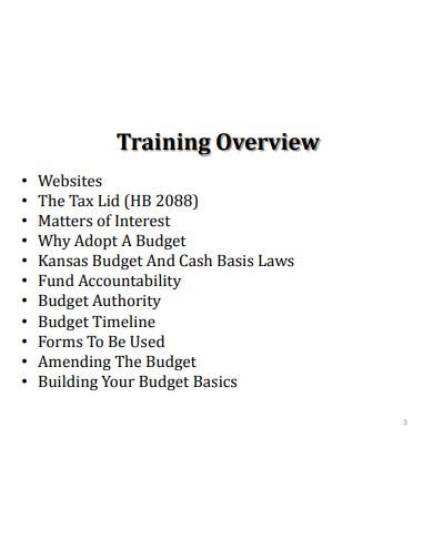 training budget workshop
