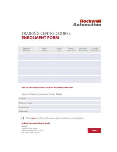 training centre course enrolment form