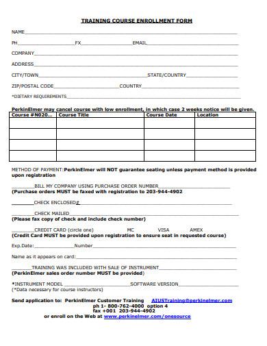 training course enrolment form