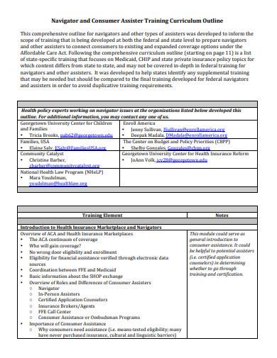 training curriculum outline