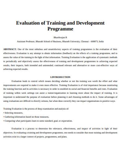 training devolopment programme evaluation