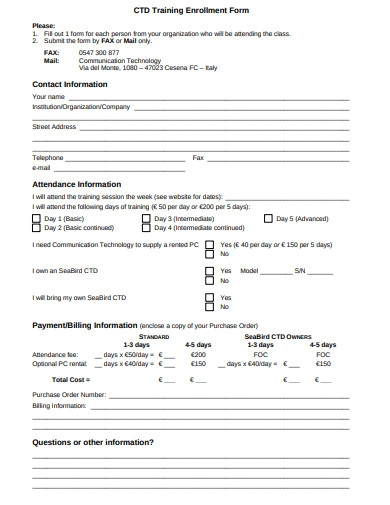 training enrollment form example