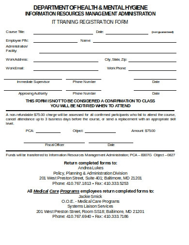 training enrollment form in doc