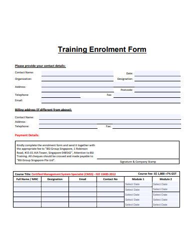 training enrolment form in pdf