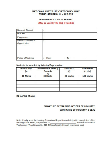 training evaluation report example in doc