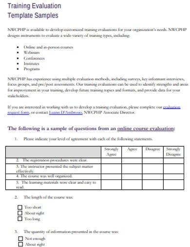 training evaluation templates