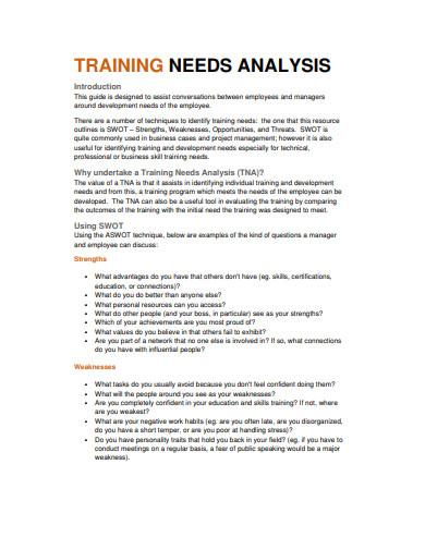 training needs analysis example