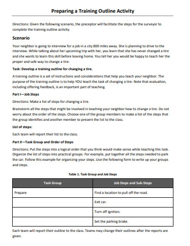 training outline activity
