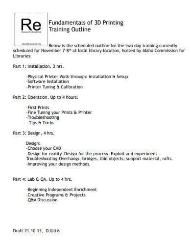 training outline in pdf